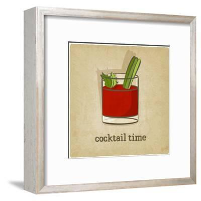 Old Background with Cocktail-natbasil-Framed Premium Giclee Print