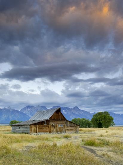 Old Barn and Teton Mountain Range, Jackson Hole, Wyoming, USA-Michele Falzone-Photographic Print