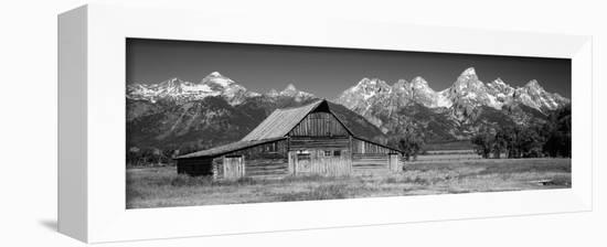 Old Barn on a Landscape, Grand Teton National Park, Wyoming, USA-null-Framed Premier Image Canvas