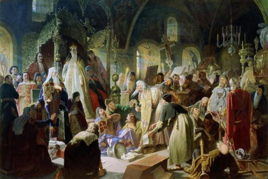 Old Believer Priest Nikita Pustosviat. Dispute on the Confession of Faith, 1880-1881-Vasili Grigoryevich Perov-Giclee Print