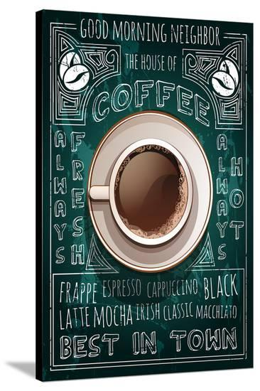 Old Best in Town Coffee Sign--Stretched Canvas Print