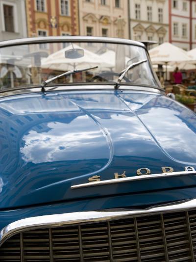 Old Blue Skoda Car, Old Town, Prague, Czech Republic, Europe-Martin Child-Photographic Print