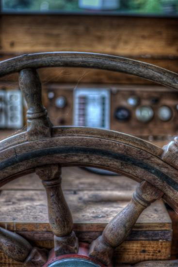 Old Boat Steering Wheel-Nathan Wright-Photographic Print