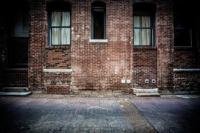 Old Brick Alleyway with Brick Walkway, Doors and Concrete Stairs-offaxisproductions-Photographic Print