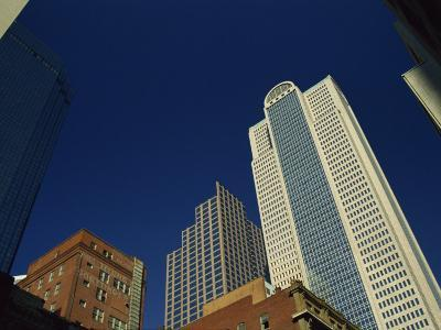 Old Brick Building Contrasts with Modern Skyscrapers in Dallas, Texas, USA-Rennie Christopher-Photographic Print