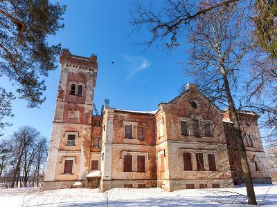 Old Brick Building on A Winter Day in Borovichi, Russia-blinow61-Photographic Print