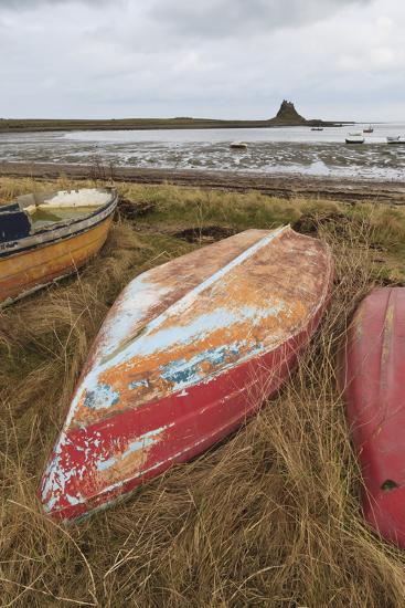 Old Brightly Painted Fishing Boats and Lindisfarne Castle in Winter, Holy Island, Northumberland-Eleanor Scriven-Photographic Print