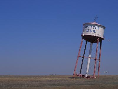 Old Britten Usa Truck Stop Water Tower Leaning at a Rakish Angle-Greg Dale-Photographic Print