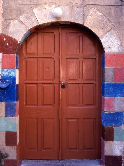 Old Brown Wooden Door, Rhodes, Dodecanese Islands, Greece-Steve Outram-Photographic Print