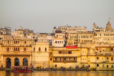 Old Building Facades, Boat in Foreground, City Palace Side, Lake Pichola, Udaipur-James Strachan-Photographic Print