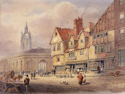 Old Buildings, Union Street and Corn Exchange before Town Hall Was Built (Bodycolour on Paper)-John Storey-Giclee Print