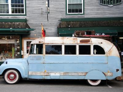 Old Bus Touring the Country Stops in Bar Harbour-Peter Ptschelinzew-Photographic Print