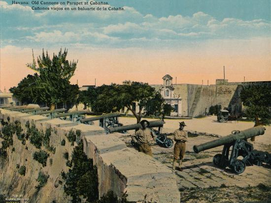 Old cannons on a parapet at La Cabana Fortress, Havana, Cuba, c1920-Unknown-Photographic Print