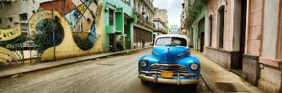 Old Car and a Mural on a Street, Havana, Cuba--Photographic Print