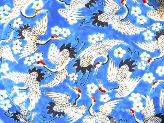 Old Chinese design blue, white and red cranes ceramic plate, Panjuan Flea Market, Beijing, China.-William Perry-Photographic Print