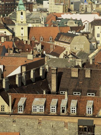 Old City Wall and City, Bratislava, Slovakia-Upperhall-Photographic Print