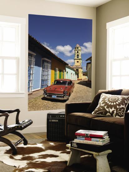 Old Classic Chevy on Cobblestone Street of Trinidad, Cuba-Bill Bachmann-Wall Mural
