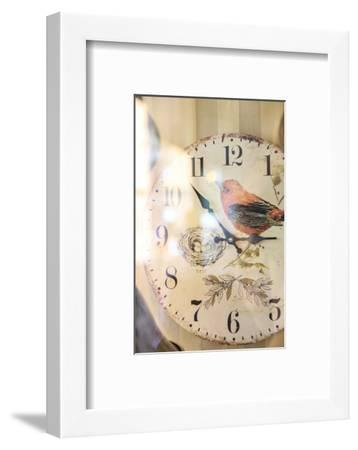Old clock with motif of a bird, vintage look, close up-Michael Hartmann-Framed Photographic Print