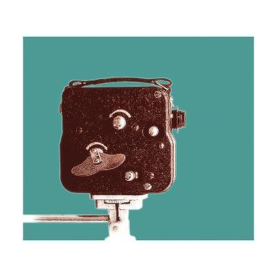 Old Clockwork Movie Camera-peterthewolf-Art Print