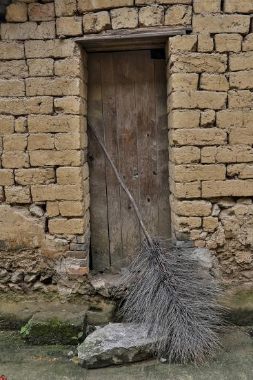 Old Doorway, Traditional Village of Xingping with Broom in Front-Darrell Gulin-Photographic Print