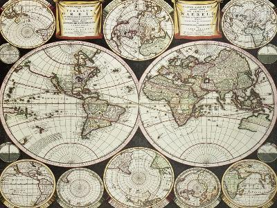 Old Double Emisphere Map Of The World Surrounded By Smallest Emispheric Projections-marzolino-Art Print