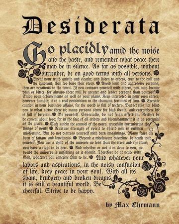 graphic regarding Desiderata Printable titled Aged English Desiderata Artwork Print through Estimate Discover