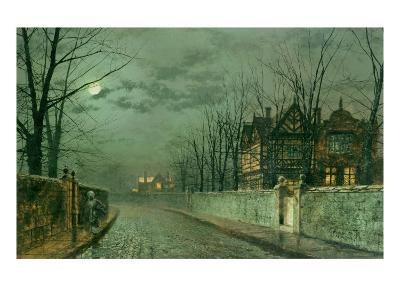 Old English House, Moonlight after Rain, 1883-Grimshaw-Giclee Print