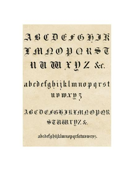 Old English Text Alphabet Art Print by | Art com