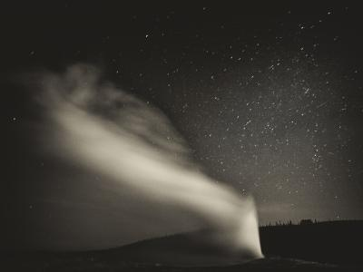 Old Faithful Geyer after Dark at Yellowstone National Park-Rebecca Gaal-Photographic Print