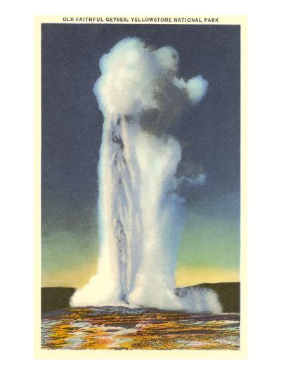 Old Faithful, Yellowstone Park, Montana--Art Print