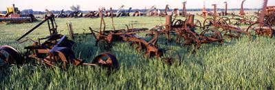 Old Farm Equipment in a Field, Kansas, USA