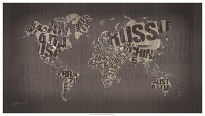 Old Fashion World Map- Mikael B. Design-Giclee Print