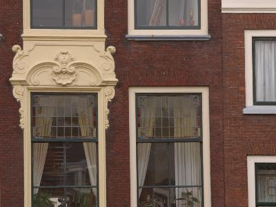 Old-Fashioned Brick Building Exterior with Ornate Doorway and Windows in the Netherlands--Photographic Print