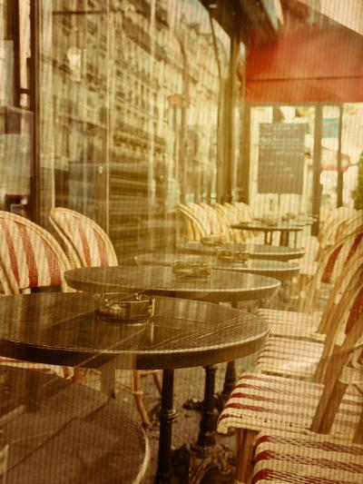 Old-Fashioned Coffee Terrace with Tables and Chairs,Paris France-ilolab-Photographic Print