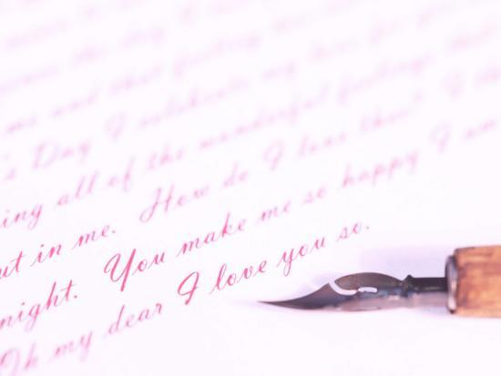 Old-Fashioned Fountain Pen Lying on Love Letter--Photographic Print