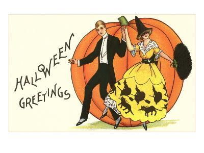 Old-Fashioned Halloween Couple Dancing--Art Print
