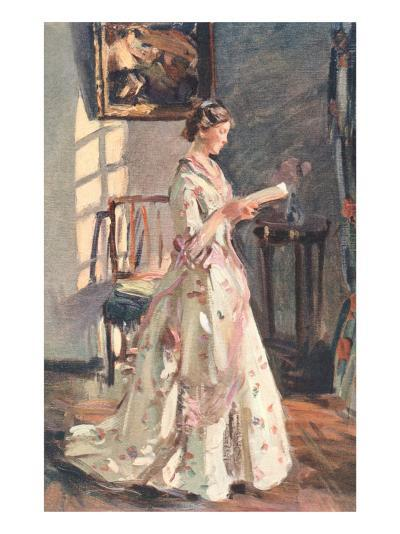 Old Fashioned Lady Reading--Art Print