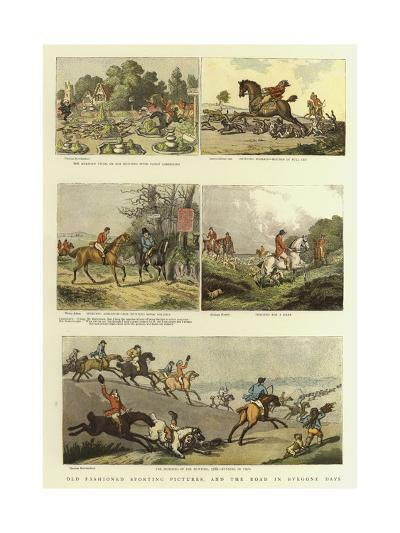Old Fashioned Sporting Pictures, and the Road in Byegone Days-Thomas Rowlandson-Giclee Print