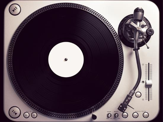 Old Fashioned Turntable Playing A Track-jaycriss-Photographic Print