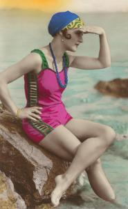 Old Fashioned Woman in Bathing Suit