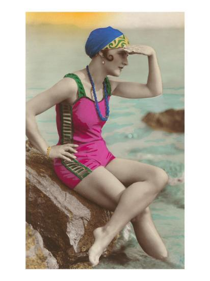 Old Fashioned Woman in Bathing Suit--Art Print