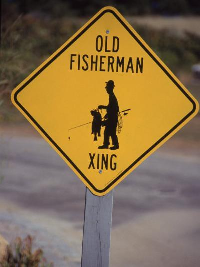 Old Fisherman Crossing Sign, Westerly Beach, RI--Photographic Print