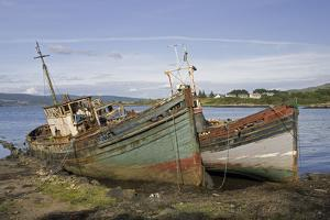 Old Fishing Boats Rotting on Beach, Isle of Mull