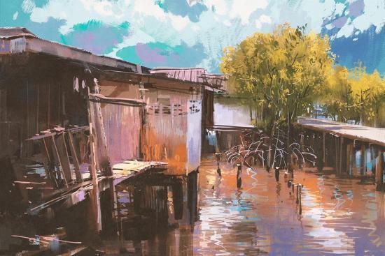 Old Fishing Village,Oil Painting Style,Illustration-Tithi Luadthong-Art Print