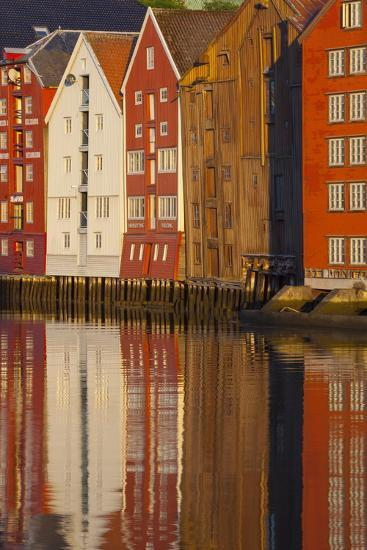 Old Fishing Warehouses Reflected in the River Nidelva-Doug Pearson-Photographic Print
