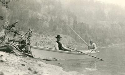 Old Folks Fishing in Boat