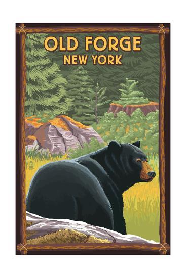 Old Forge, New York - Black Bear in Forest-Lantern Press-Art Print