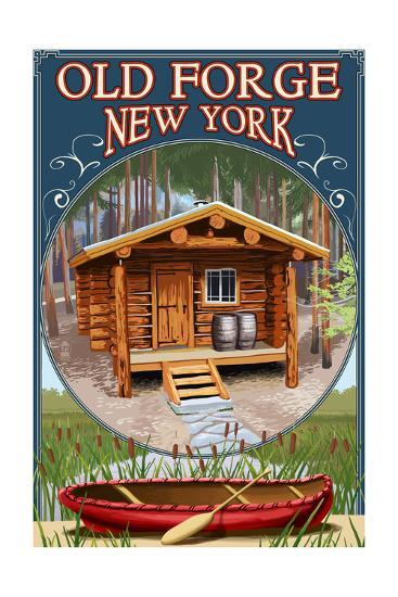 Old Forge, New York - Cabin in Woods-Lantern Press-Art Print