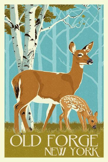 Old Forge, New York - Deer and Fawn - Letterpress-Lantern Press-Wall Mural