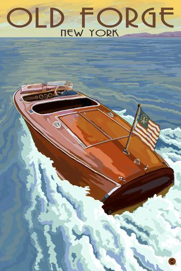 Old Forge, New York - Wooden Boat on Lake-Lantern Press-Wall Mural